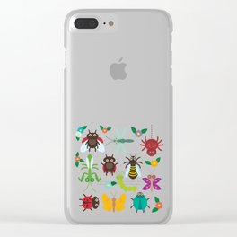 Funny insects Spider butterfly caterpillar dragonfly mantis beetle wasp ladybugs Clear iPhone Case