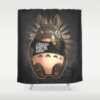 cuddle Shower Curtains featuring CUDDLE MONSTER by Tim Shumate