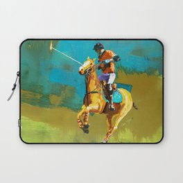 poloplayer abstract turquoise ochre Laptop Sleeve