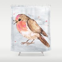 robin Shower Curtains featuring Robin by Bwiselizzy