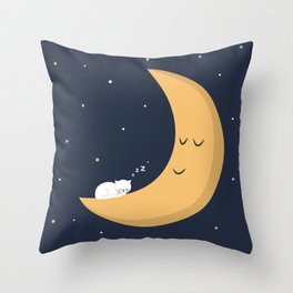 The Cat and the Moon Throw Pillow