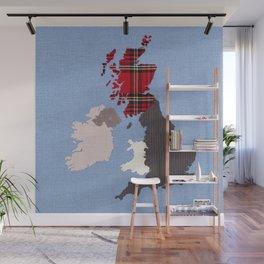 British Isles Fabric Map Art Wall Mural