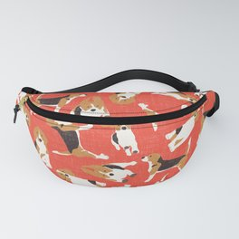 beagle scatter coral red Fanny Pack