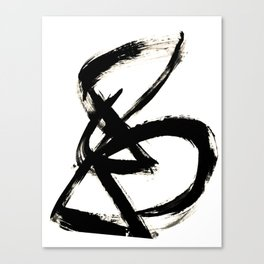 Brushstroke 3 - a simple black and white ink design Canvas Print