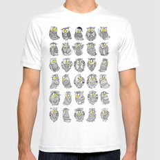 Sleepy Owls White Mens Fitted Tee MEDIUM