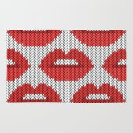 Lips pattern - white Rug
