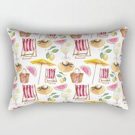 Summer pink yellow watercolor watermelon lemon nautical pattern Rectangular Pillow