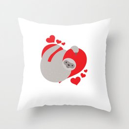 Cute and Adorable Valentines Day Sloth Throw Pillow