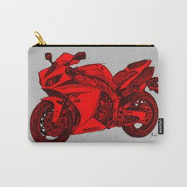 Red Motorcycle handmade drawing, great gift for men, man cave decoration Carry-All Pouch