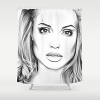 angelina jolie Shower Curtains featuring Angelina Jolie fanart  by Thubakabra