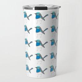Illustrated Blue Wren with Line Art Travel Mug