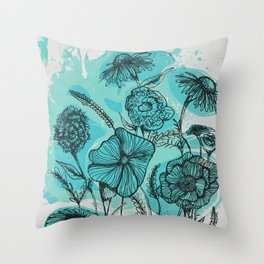 Oceanic Flowers Throw Pillow
