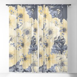 Floral Watercolor Print, Yellow and Navy Blue Sheer Curtain