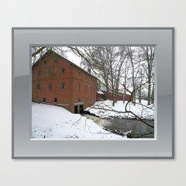 Winter Impression - Watermill Canvas Print
