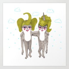 friends with costumes Art Print