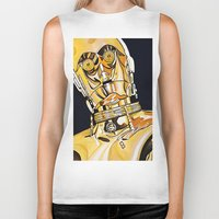 c3po Biker Tanks featuring C3PO by Laura-A