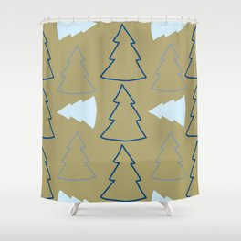 Blue and Silver Trees Shower Curtain