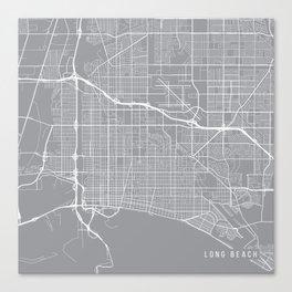 Long Beach Map, California USA - Pewter Canvas Print