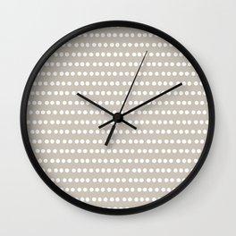 Dots Stripes Beige Wall Clock