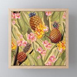 Vintage & Shabby Chic - Hot Summer Yellow Pineapple Tropical Garden Framed Mini Art Print