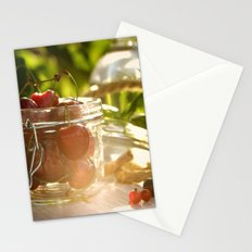 Fresh cherrie in glass Stationery Cards