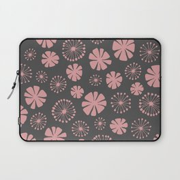 Floral Pattern - pale pink, charcoal gray Laptop Sleeve