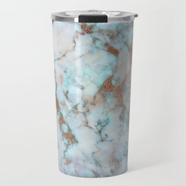 Rose Marble with Rose Gold Veins and Blue-Green Tones Travel Mug