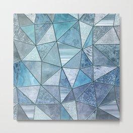 Blue Aqua Glamour Shiny Precious Patchwork Metal Print