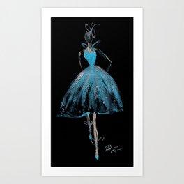 Blue and Light Haute Couture Fashion Illustration Art Print