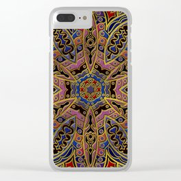 Mandala Gold Embossed on Faux Leather Clear iPhone Case