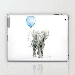 Baby Animal Elephant Watercolor Blue Balloon Baby Boy Nursery Room Decor Laptop & iPad Skin