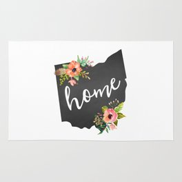 Ohio Watercolor Flowers State Home Rug