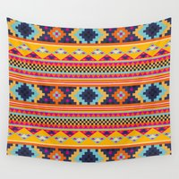 navajo Wall Tapestries featuring Navajo blanket pattern- orange by One Six Eight One