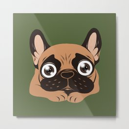 Black mask fawn Frenchie is ready to play Metal Print