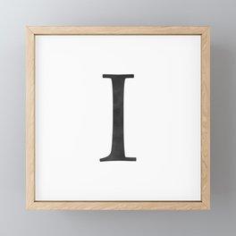 Letter I Initial Monogram Black and White Framed Mini Art Print