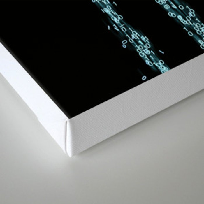 Code / 3D render of binary data flowing on to human hand Canvas Print