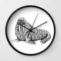 walrus Wall Clocks featuring Walrus by Margot Holtman