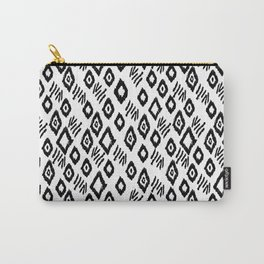 Linocut black and white minimalist mud cloth tribal pattern primitive mark making Carry-All Pouch