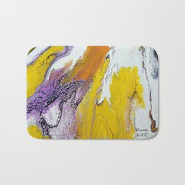 Jupiter, acrylic on canvas, dirty pouring medium Bath Mat