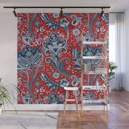 Red White & Blue Floral Paisley Wall Mural