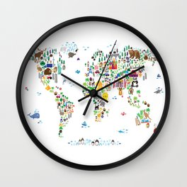 Animal Map of the World for children and kids Wall Clock
