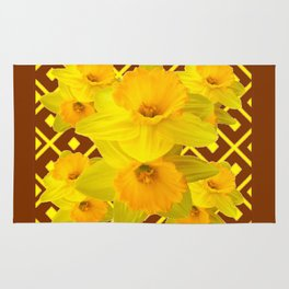 Coffee Brown Pattern of Golden Daffodils Art Rug