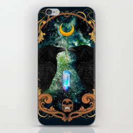 Raven Moon Oracle With Crystal Pendulum iPhone Skin