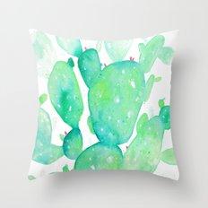 Teal Watercolour Cactus Throw Pillow