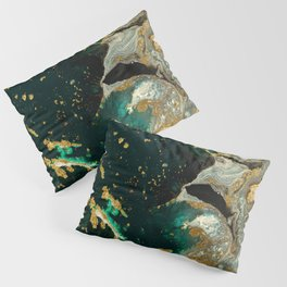 Abstract Pour Painting Liquid Marble Abstract Dark Green Painting Gold Accent Agate Stone Layers Pillow Sham