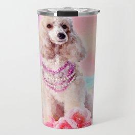 Watercolor digital art Poodle with flowers Travel Mug