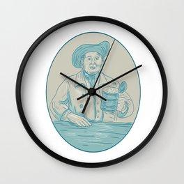 Gentleman Beer Drinker Tankard Oval Drawing Wall Clock