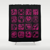 writing Shower Curtains featuring Maya Writing System by Stop::mashina ~Runes