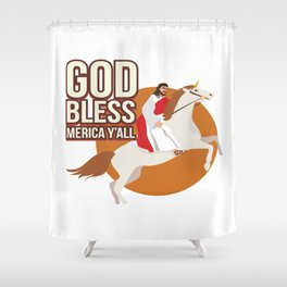 Funny God Bless Merica Y'all Jesus Christian Gift Shower Curtain