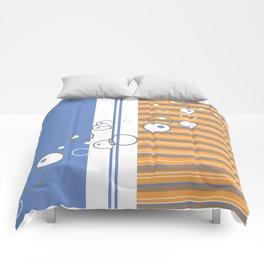 Blue Orange Bubble Strip Comforters